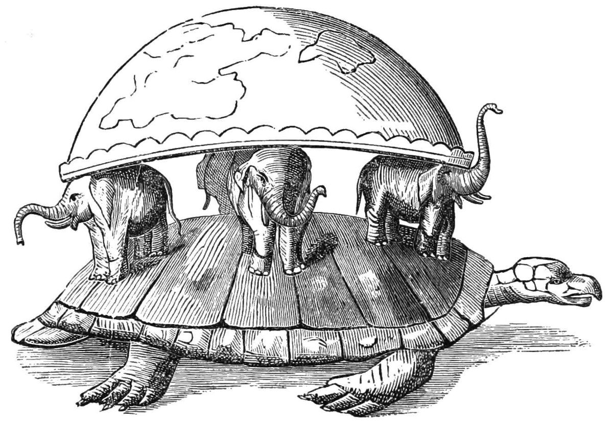 The turtle that carries the four elephants that carry the Earth