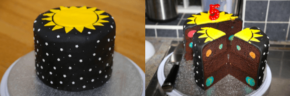 space party birthday cake
