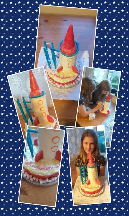 rocket cake collage